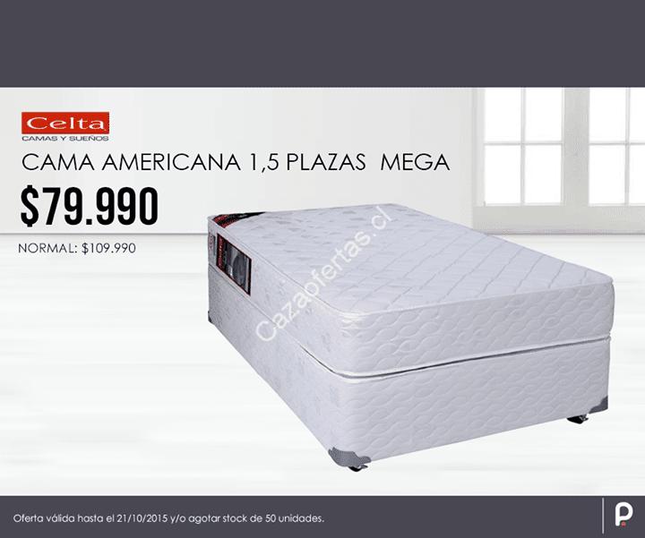 Precio imperdible cama americana 1 5 plazas for Cama americana
