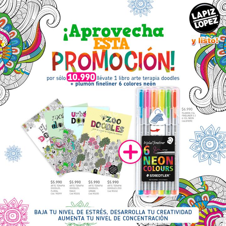 Promoción Lapiz Lopez, 1 libro arte terapia doodles + plumon ...