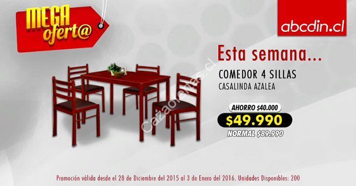 Oferta de la semana en Abcdin comedor 4 sillas a $49.990