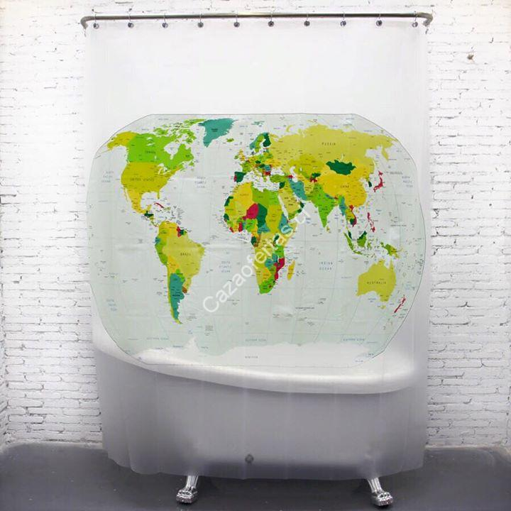 Hoy ultimo dia 20 off en cortina de ba o mapa mundi en - Cortina bano mapamundi ...