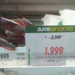 Jumbo oferta, precio normal $1.699 pesos, Precio oferta $1.999 Mismo producto. MEDIA OFERTA