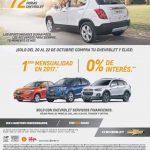 72 Horas Chevrolet Octubre 2016: Paga tu primera mensualidad en 2017 ó 0% de interés