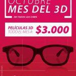 Promoción Cinemark Octubre Mes del 3D: películas a solo $3.000
