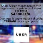 Código Uber de 4 viajes gratis de hasta $4.000