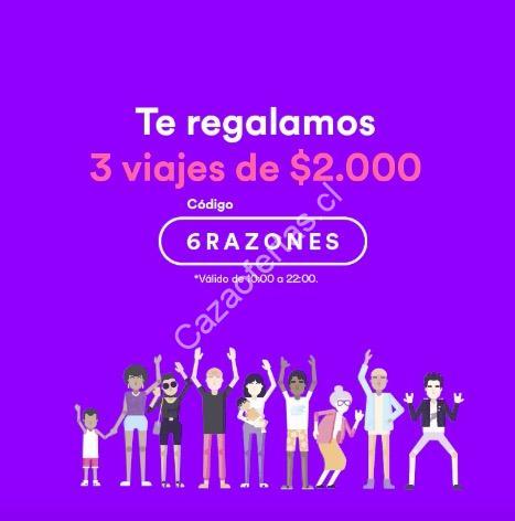 Código Cabify Santiago de 3 viajes de hasta $2 000 del 12 al